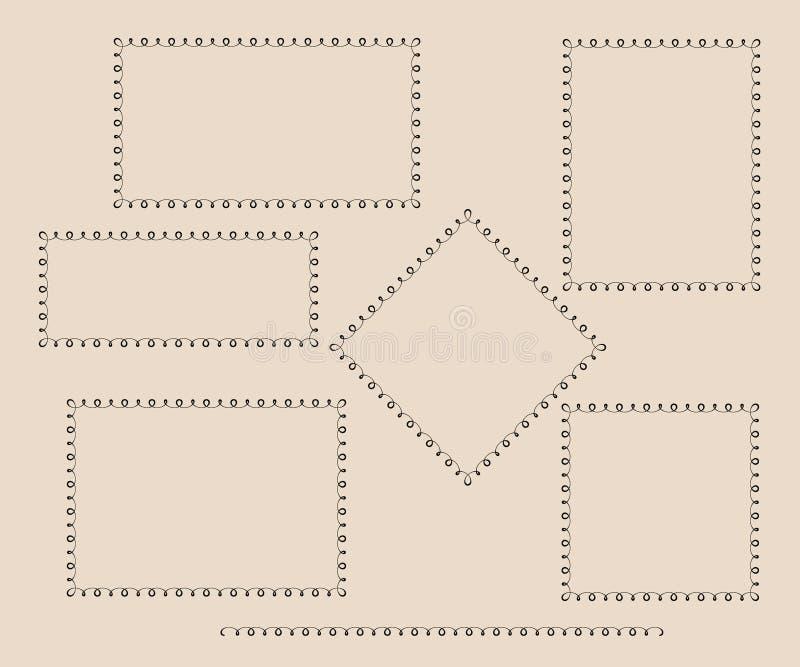 установленные рамки Винтаж также вектор иллюстрации притяжки corel иллюстрация вектора