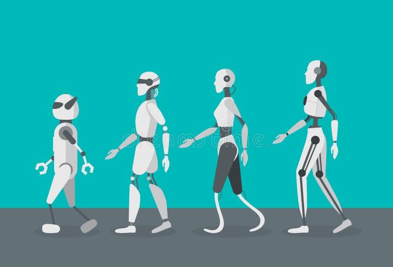 Установленные роботы андроида цвета шаржа вектор иллюстрация штока