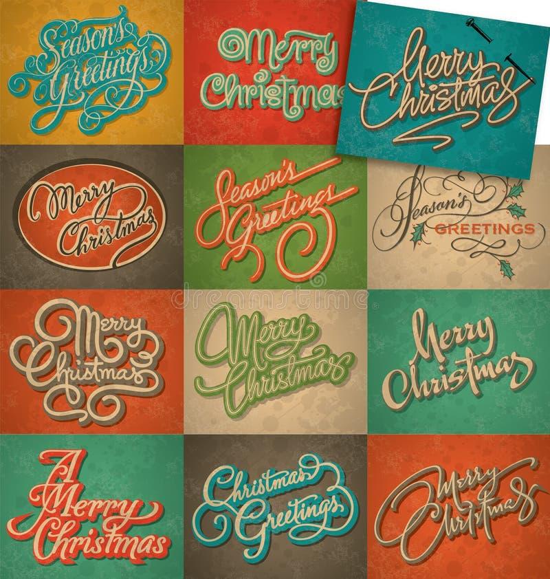 Установленные рождественские открытки год сбора винограда иллюстрация вектора