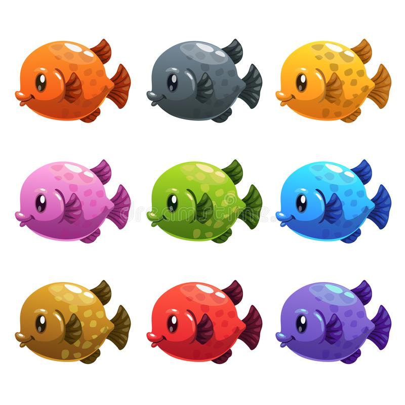 Установленные рыбы милого шаржа красочные иллюстрация штока
