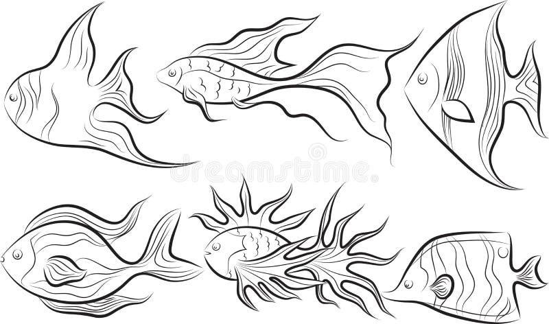 установленные рыбы иллюстрация штока