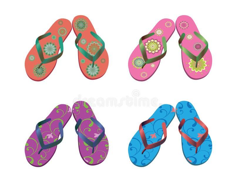 установленные сандалии flops flip пляжа иллюстрация штока