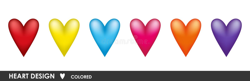 Установленные сердца цвета иллюстрация штока