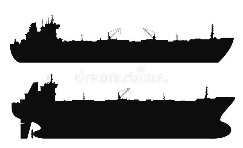 Установленные силуэты нефтяных танкеров вектор иллюстрация штока