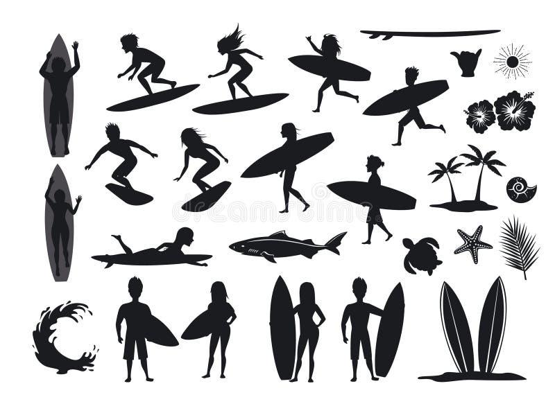 Установленные силуэты серферов люди и женщины занимаясь серфингом, ехать волны, стойка, прогулка, бег, заплыв с surfboards, симво иллюстрация штока