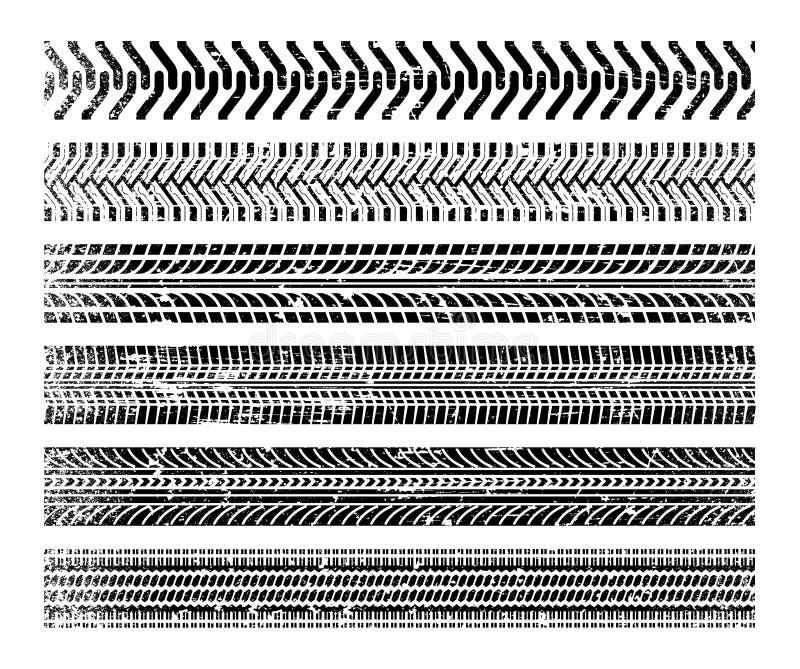 Установленные следы автошины иллюстрация штока