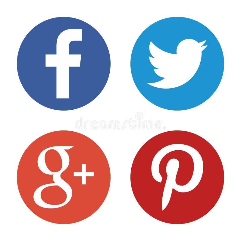 установленные средства икон социальными Круглые логотипы сети в векторе иллюстрация штока