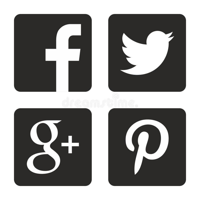 установленные средства икон социальными Логотипы сети в векторе иллюстрация штока