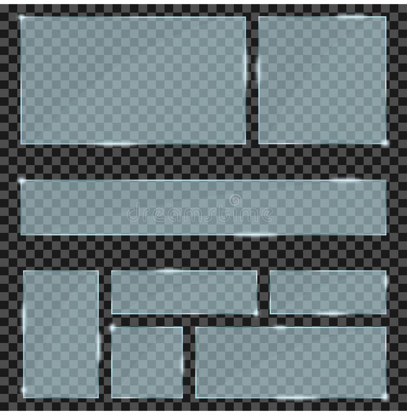 Установленные стеклянные пластинки Реалистические современные стеклянные рамки и знамена на прозрачной предпосылке вектор бесплатная иллюстрация