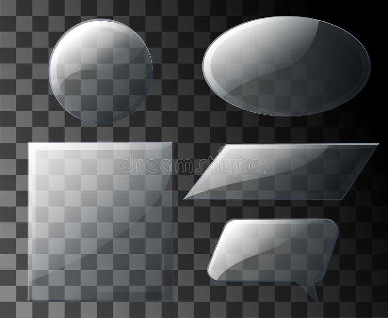 Установленные стеклянные пластинки Стекло в форме геометрических форм Знамена вектора стеклянные на прозрачной предпосылке иллюстрация вектора