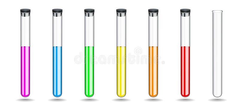 Установленные стеклянные пробирки с покрашенные жидкости, закрывая черный резиновый затвор Химическое оборудование для работы в л иллюстрация вектора