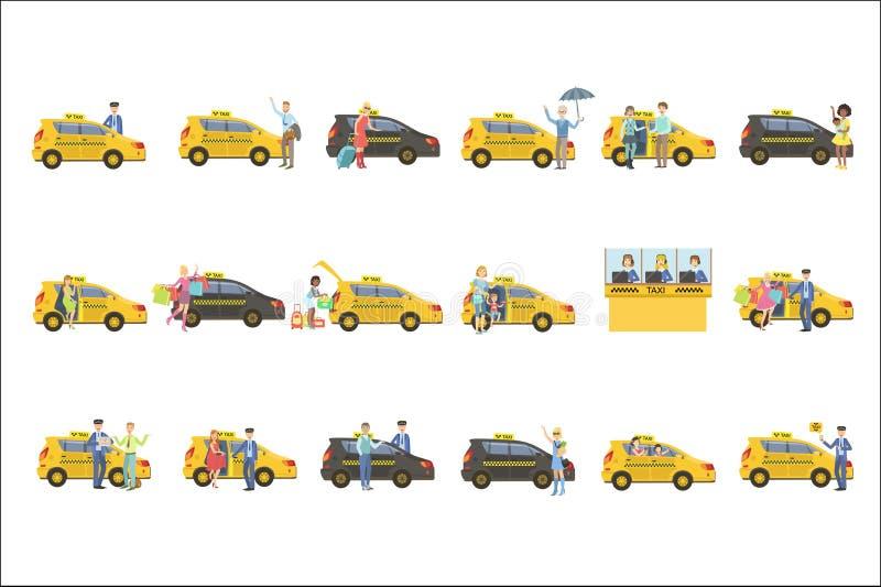 Установленные такси, водители и их клиенты бесплатная иллюстрация