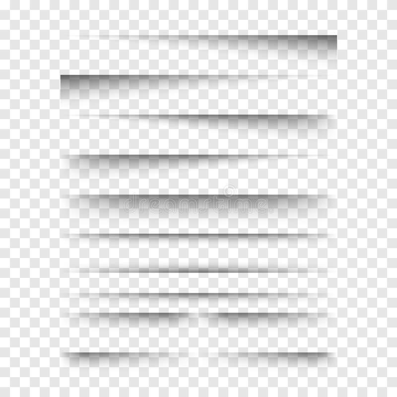 Установленные тени вектора реалистические прозрачные иллюстрация вектора