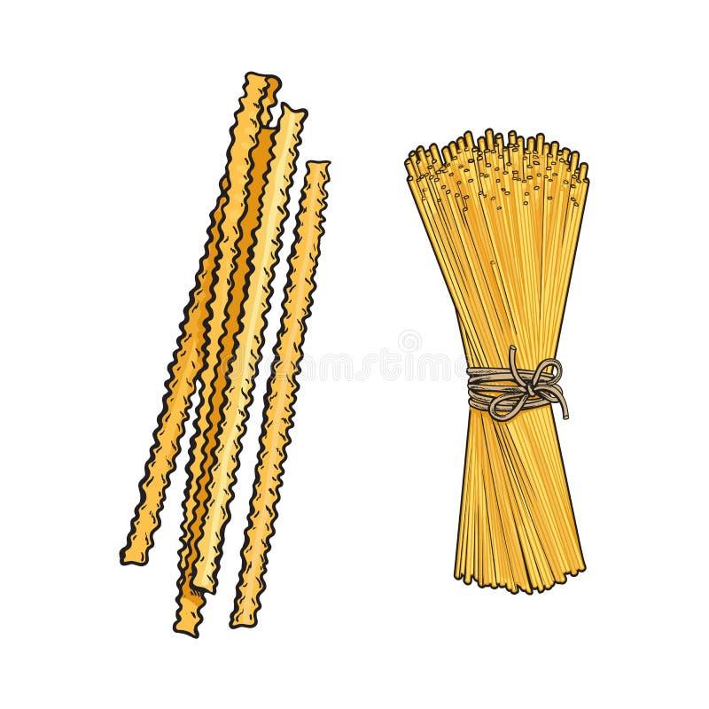 Установленные типы макаронных изделий эскиза вектора нарисованные рукой итальянские иллюстрация штока