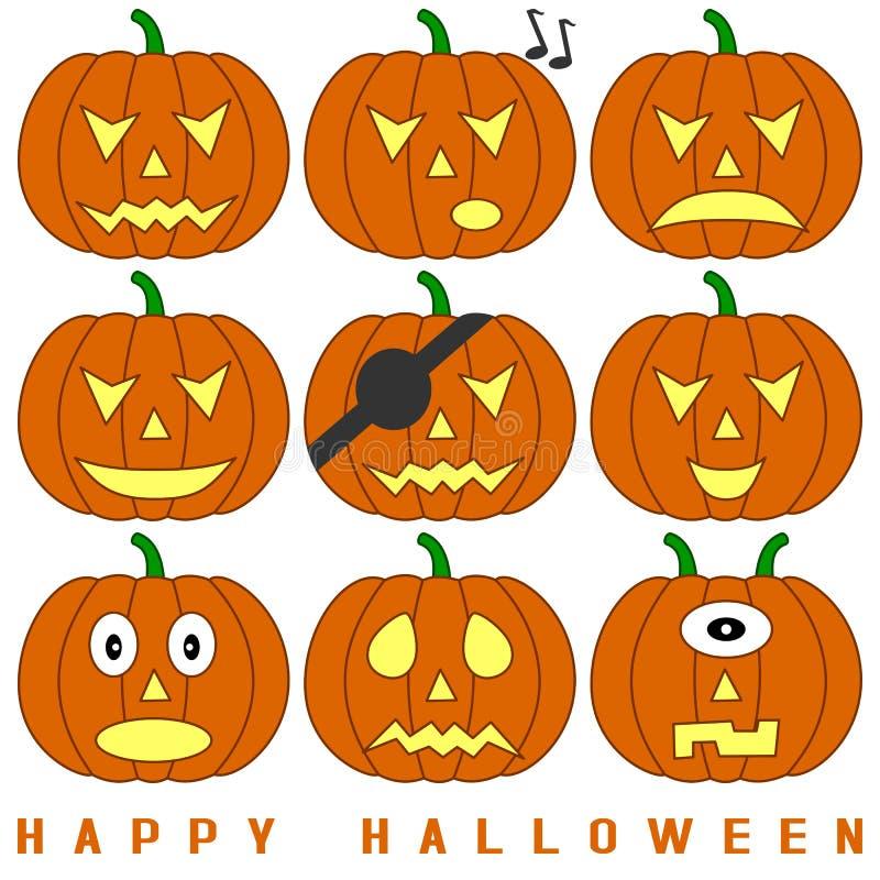установленные тыквы halloween иллюстрация вектора