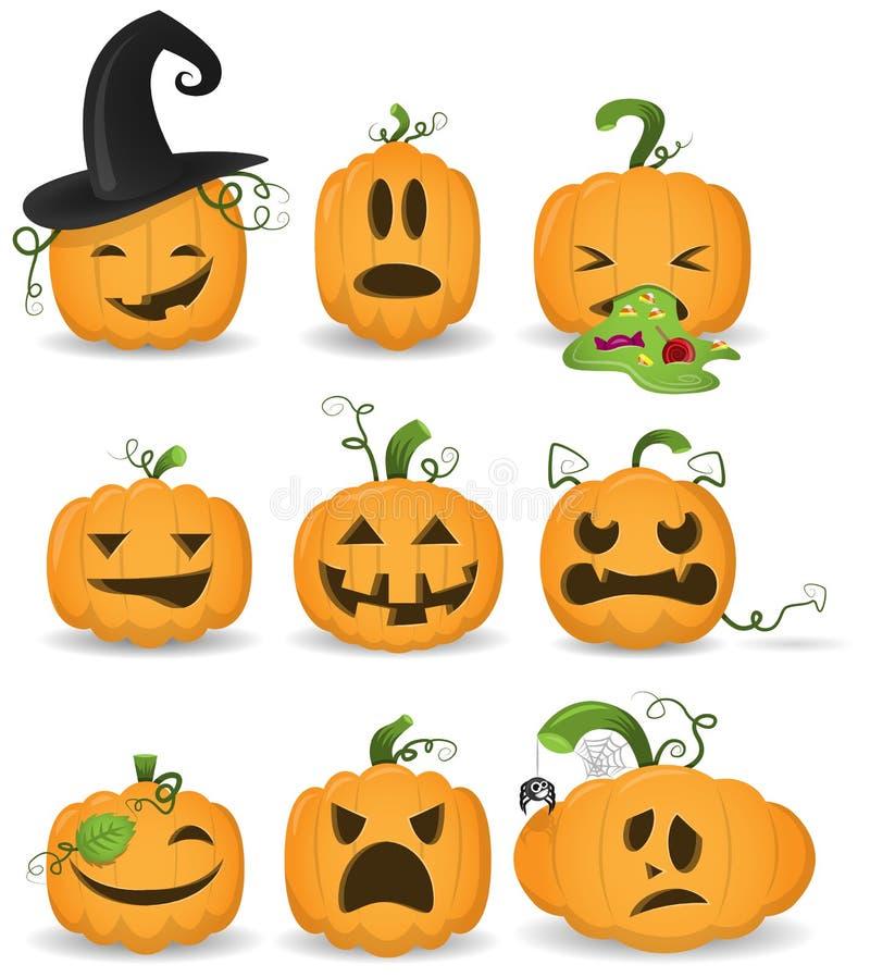 установленные тыквы halloween иллюстрация штока