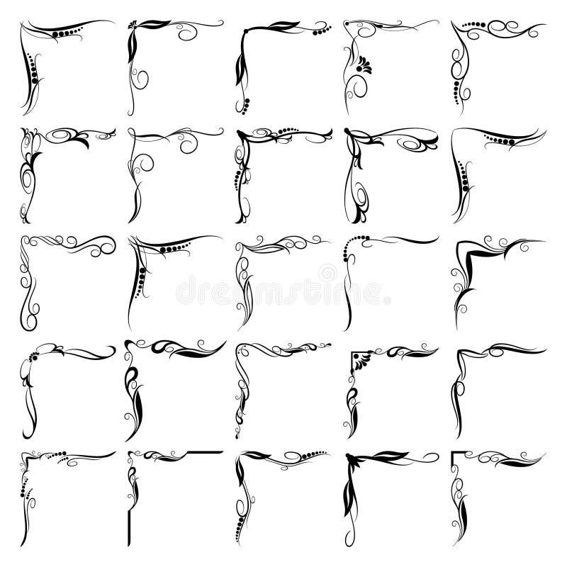 Установленные углы элементов флористического дизайна бесплатная иллюстрация