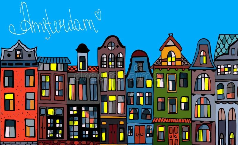 Установленные фасады мультфильма домов Амстердама старые Традиционная архитектура Нидерланд Красочные иллюстрации вектора на голл иллюстрация штока