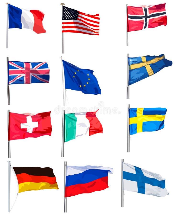 установленные флаги стоковые изображения rf