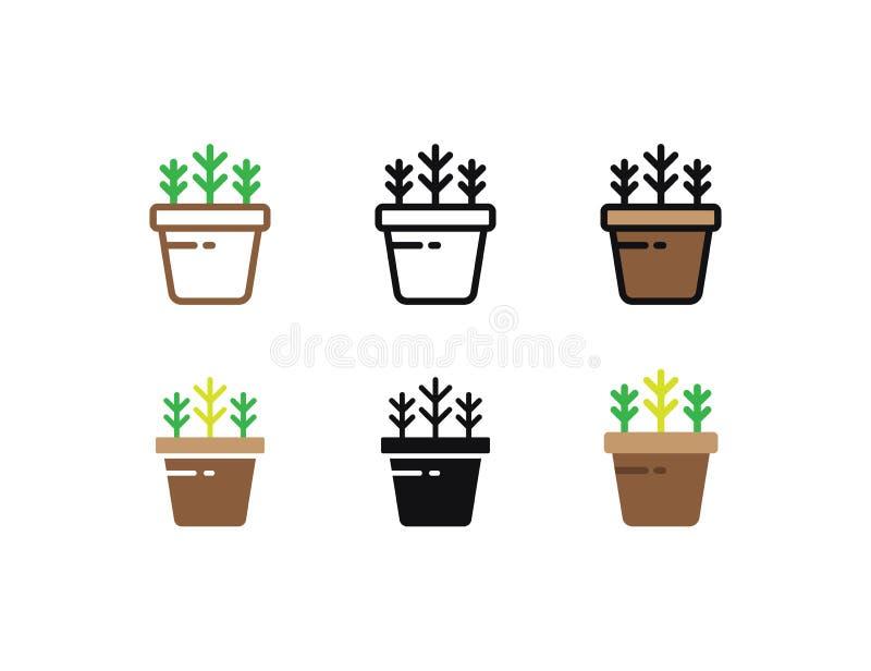 Установленные флористические заводы и зацветая кактус в баках изолированных с линией, квартирой и стилями значка глифа на белой п иллюстрация штока