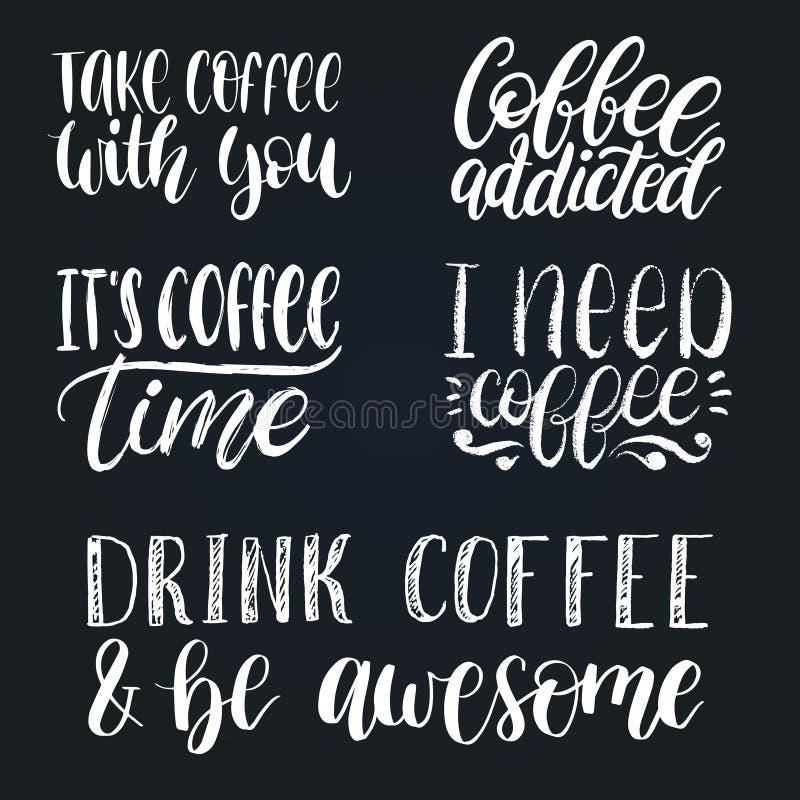 Установленные фразы кофе вектора рукописные Закавычит оформление Иллюстрации каллиграфии для плаката ресторана, ярлыка кафа бесплатная иллюстрация