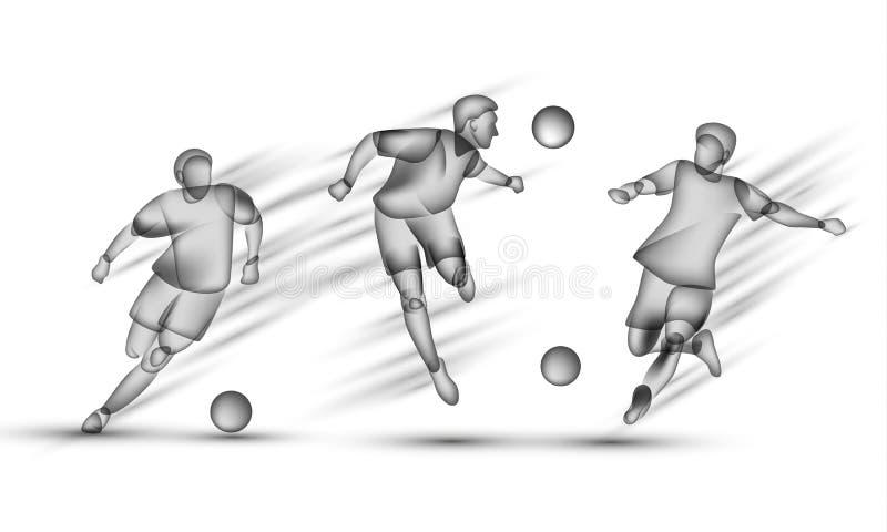 Установленные футболисты Прозрачный черный силуэт футболисты на белой предпосылке с влиянием верхнего слоя иллюстрация вектора