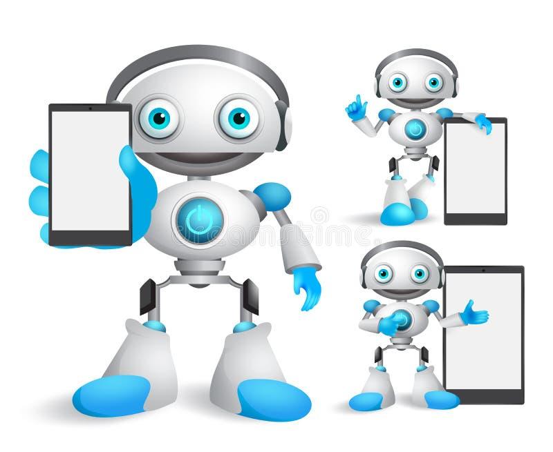 Установленные характеры вектора робота держать устройство мобильного телефона иллюстрация вектора