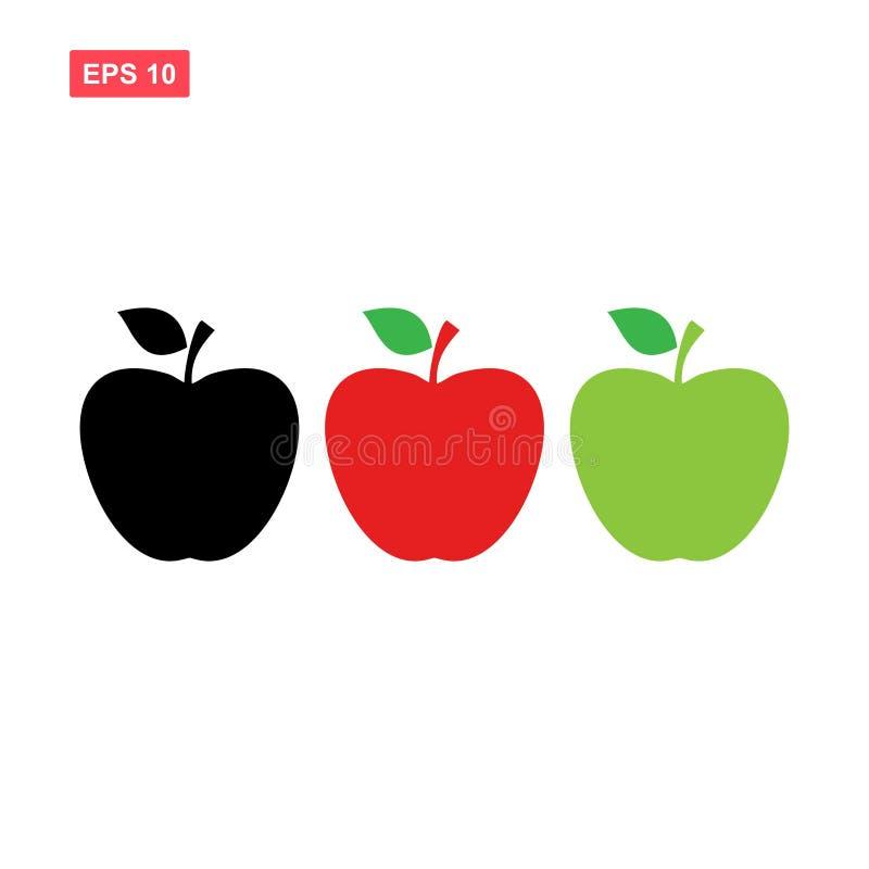 Установленные цвета значка вектора яблока изолировали иллюстрация вектора