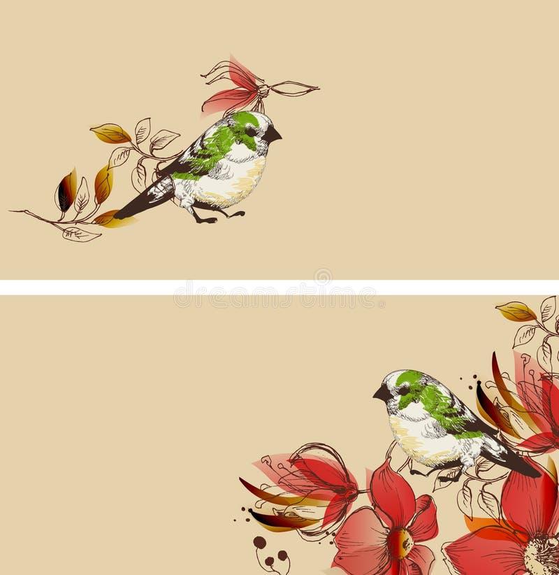 Установленные цветки и милые знамена птиц бесплатная иллюстрация