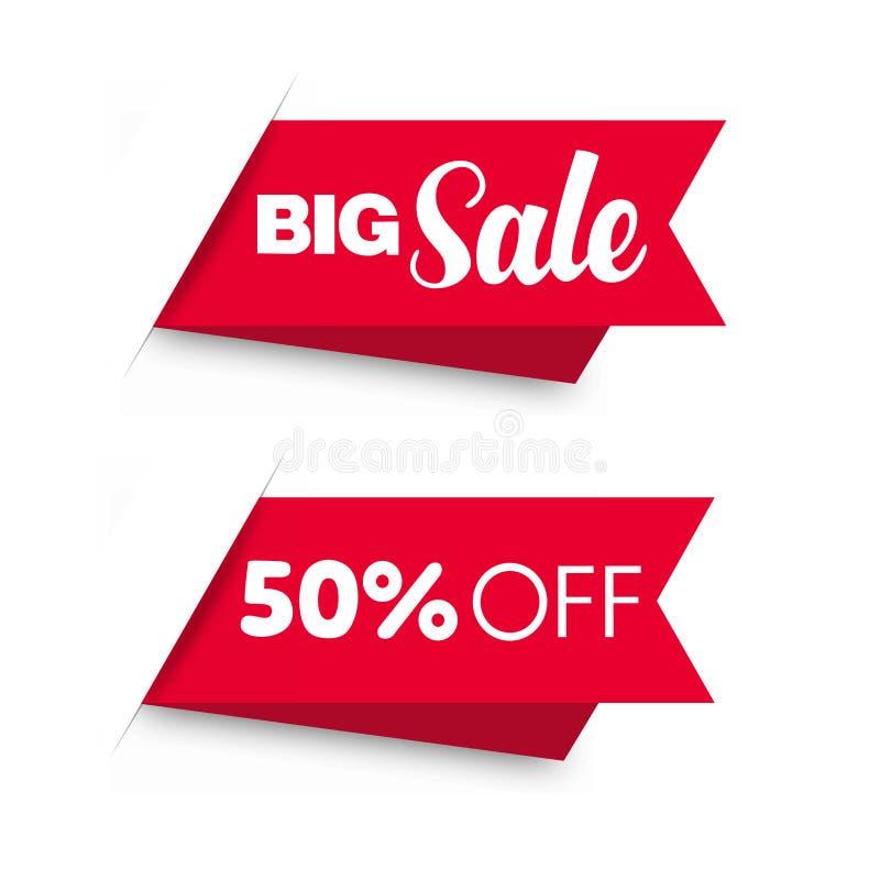 Установленные ценники продажи красные иллюстрация вектора