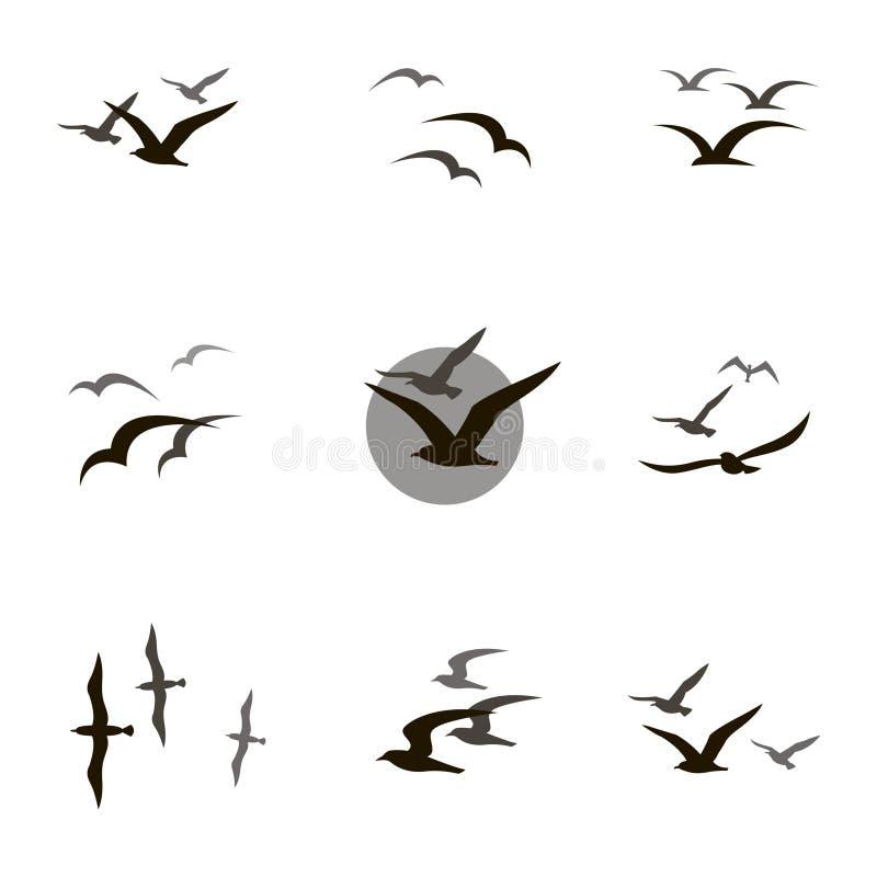 установленные чайки иллюстрация штока