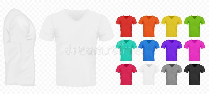 Установленные черный, белизна и другой основной футболка людей цвета простой Реалистическая иллюстрация вектора шаблона дизайна иллюстрация вектора
