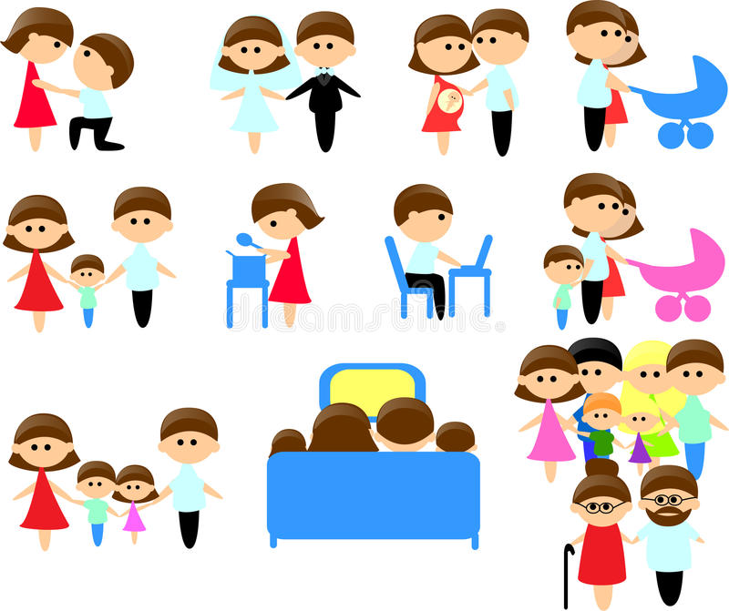 установленные члены икон семьи большие иллюстрация вектора