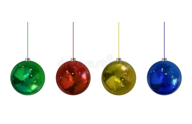 Установленные шарики Christmass вектора, изолированный на игрушках белой предпосылки реалистических бесплатная иллюстрация