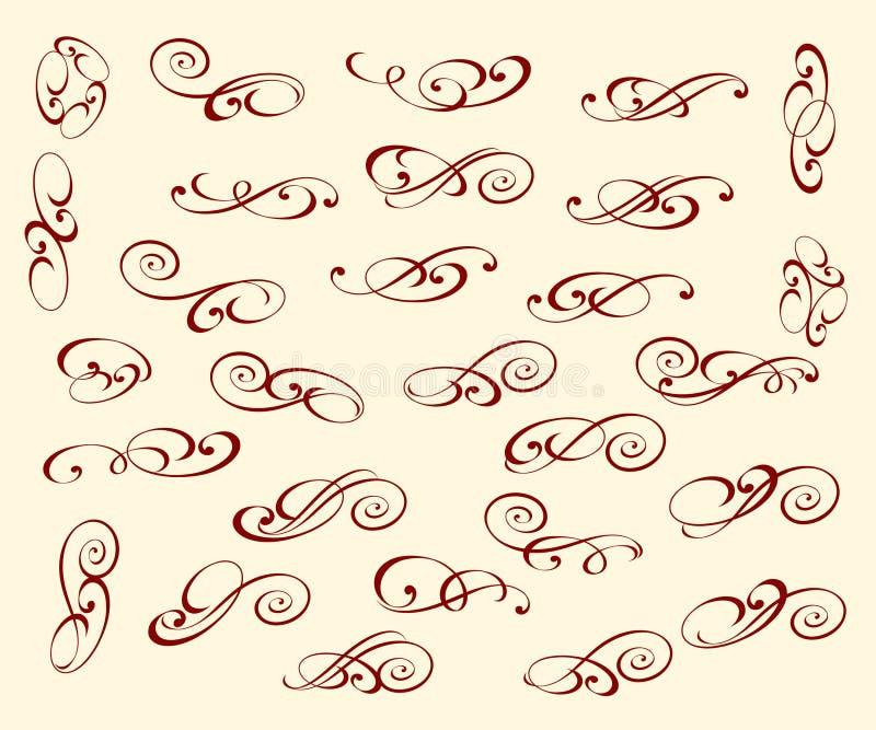 Установленные элегантные декоративные элементы также вектор иллюстрации притяжки corel иллюстрация штока