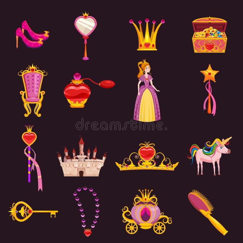 Установленные элементы принцессы Мира и атрибуты дизайна Замок, зеркало, трон, экипаж, ботинки, щетка для волос, волшебная палочк иллюстрация штока