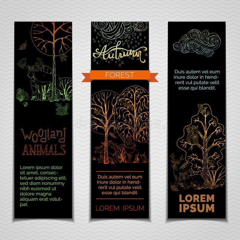 Установленные bannes леса вектора вертикальные бесплатная иллюстрация