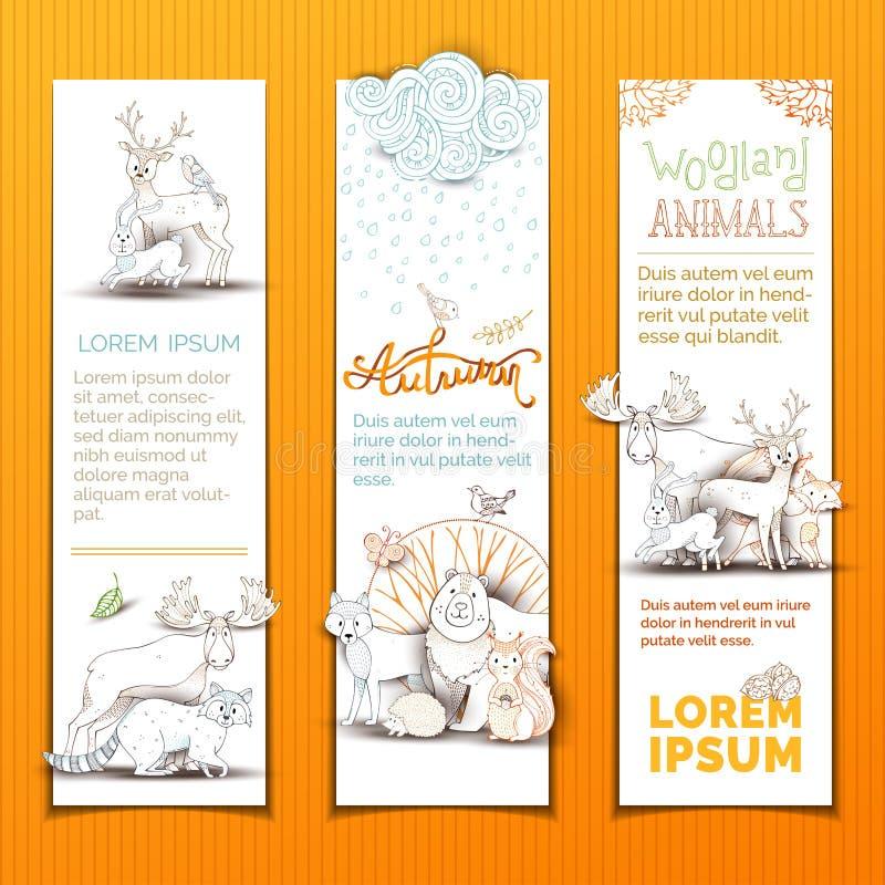 Установленные bannes милых животных вертикальные иллюстрация штока