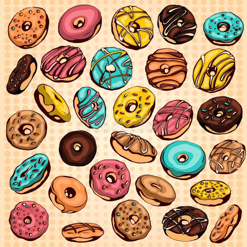 установленные donuts иллюстрация вектора