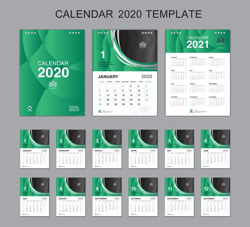 Установленный вектор 2020, дизайн календаря 2021, начало настольного календаря недели в воскресенье иллюстрация вектора