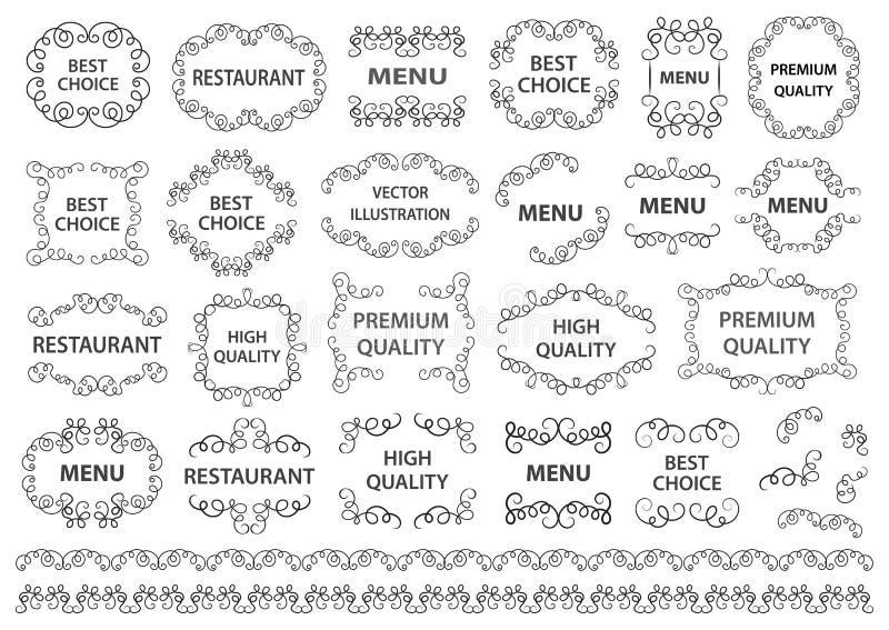 Установленный вектор: каллиграфические элементы конструкции и украшение страницы Декоративные свирли или перечени, винтажные рамк иллюстрация вектора