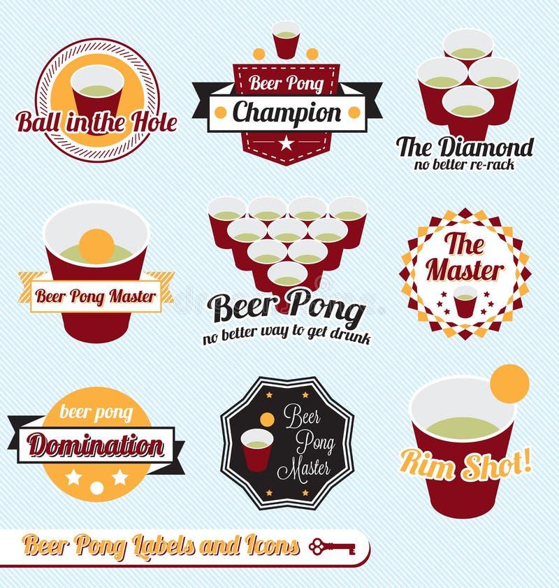 Установленный вектор: Ярлыки и иконы чемпиона Pong пива иллюстрация вектора