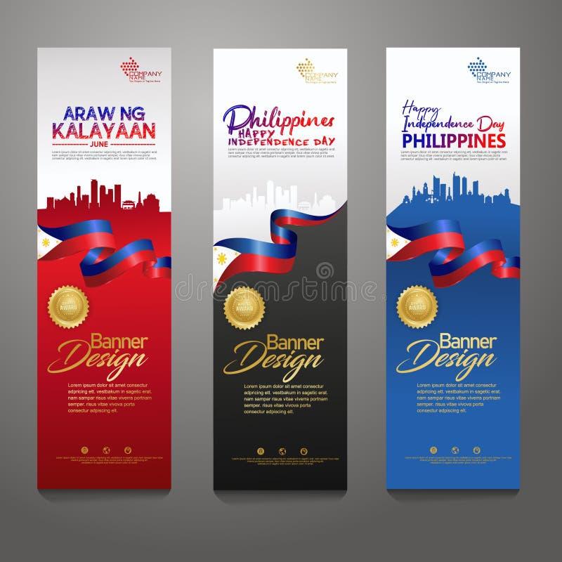 Установленный вертикальный шаблон дизайна знамени Предпосылка Филиппин счастливого Дня независимости современная бесплатная иллюстрация