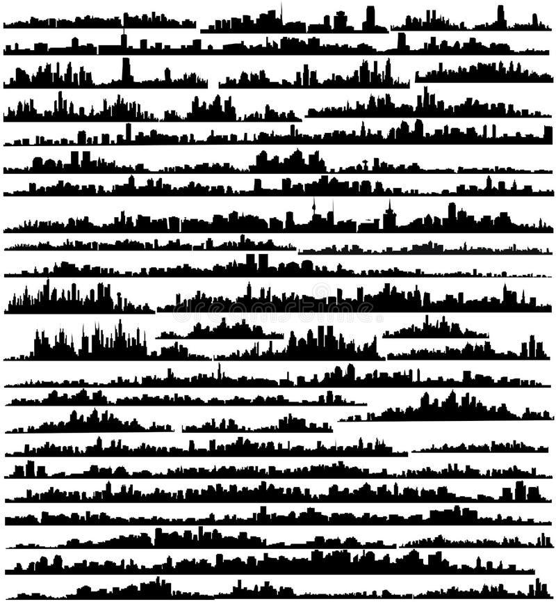 установленный городами вектор силуэтов стоковое изображение