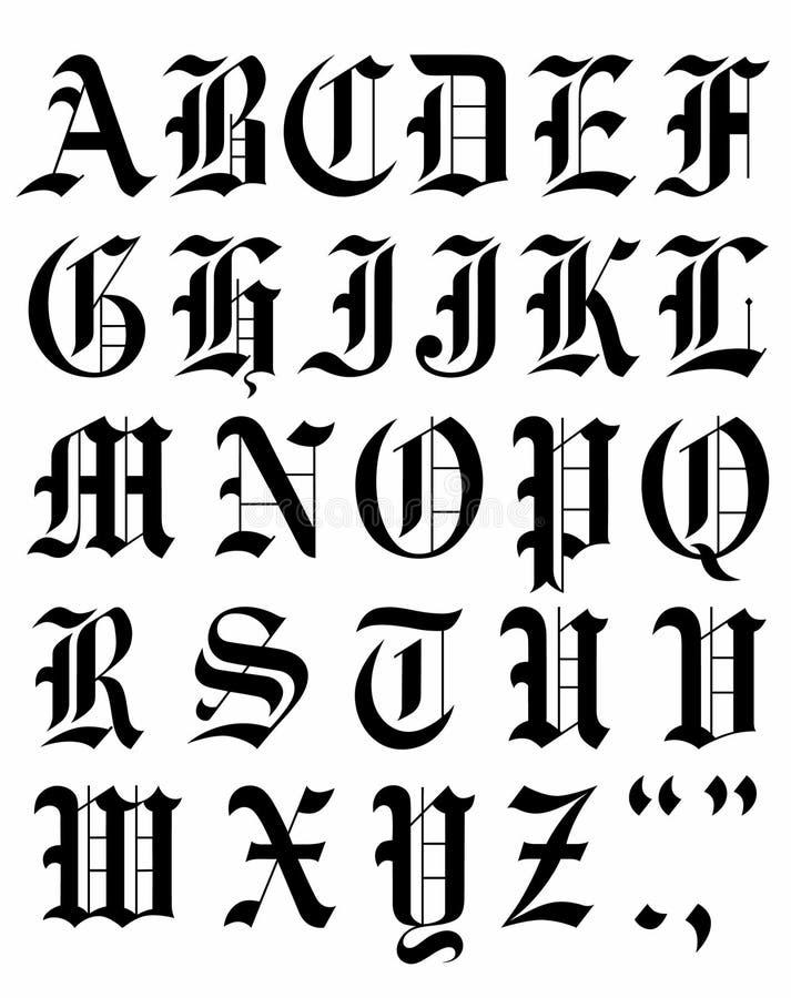 Установленный готический эскиз алфавита вектора шрифта иллюстрация штока
