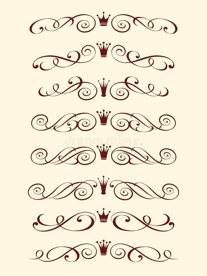 Установленный декоративный элемент с кроной Беж Брайна бесплатная иллюстрация