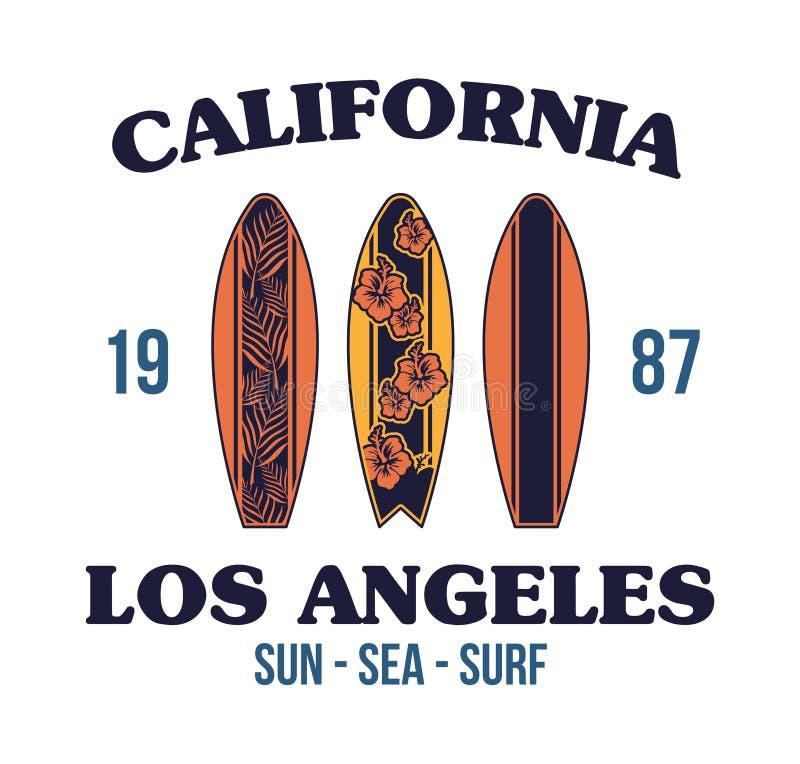 Установленный дизайн футболки печати surfboard иллюстрация вектора