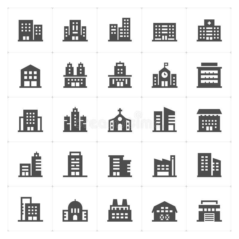 Установленный значок - значок заполненный зданием иллюстрация вектора