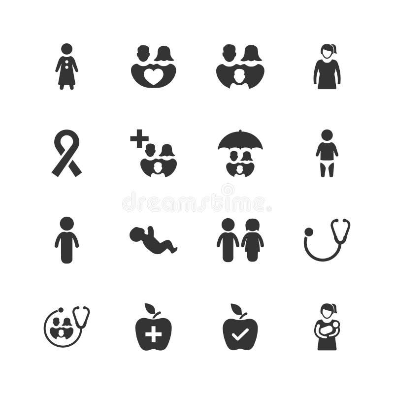 Установленный значок здравоохранения семьи - серая версия иллюстрация штока