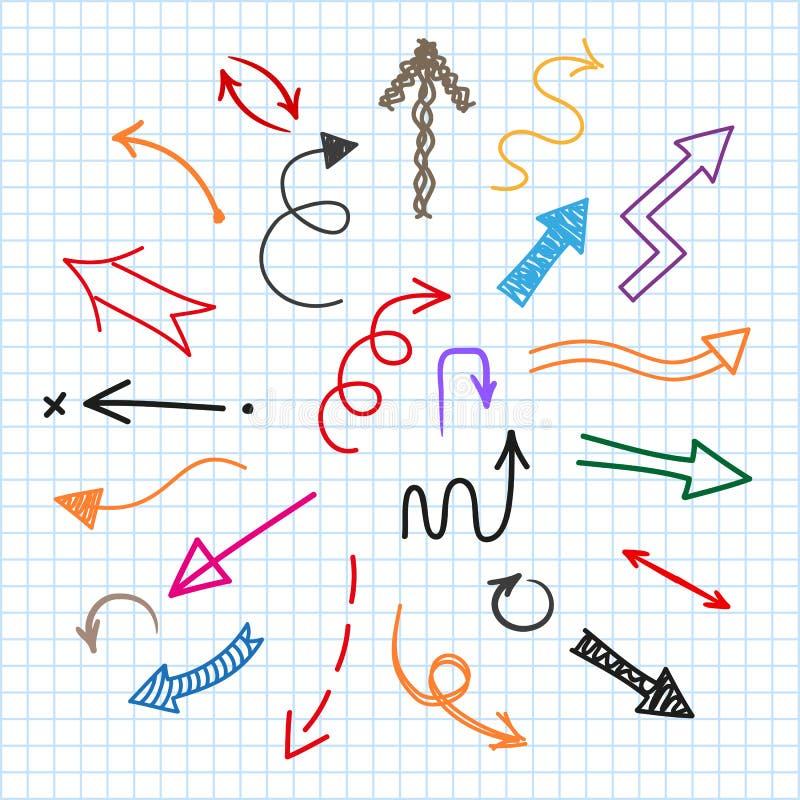 Установленный значок стрелок Различный покрашенный покрашенный знак стрелок изолированный на вектор †текстуры бумаги тетради « бесплатная иллюстрация